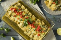 Homemade Green Chicken Enchiladas with Cilantro and Sauce