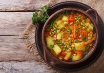 Vegetable soup with mungbeen closeup on the table. top view horizontal